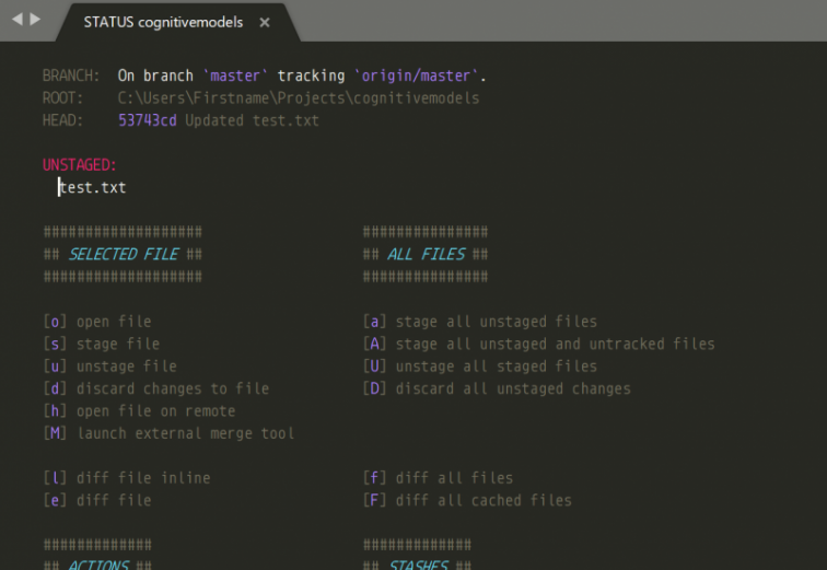Screenshot of Sublimetext with GitSavvy